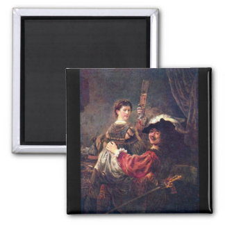 Self-Portrait with Saskia by Rembrandt 2 Inch Square Magnet