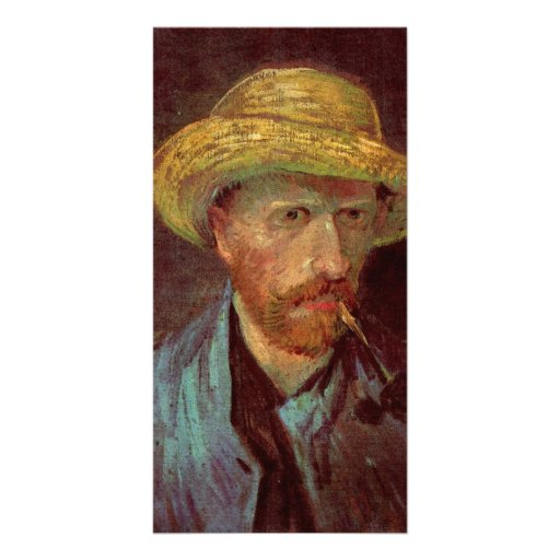 Self-Portrait with Straw Hat and Pipe by van Gogh Picture Card
