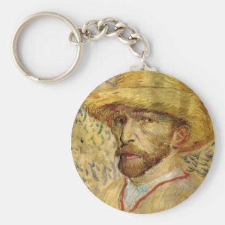 Self-Portrait with Straw Hat by Vincent van Gogh Keychain