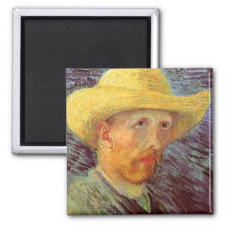 Self-Portrait with Straw Hat by Vincent van Gogh Fridge Magnets