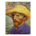 Self-Portrait with Straw Hat by Vincent van Gogh Posters