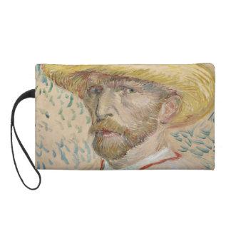 Self-Portrait with Straw Hat by Vincent Van Gogh Wristlet Purse