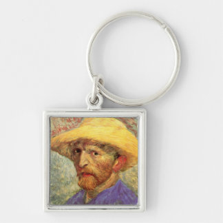 Self-Portrait with Straw Hat Van Gogh Fine Art Silver-Colored Square Keychain