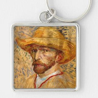 Self Portrait with Straw Hat, Vincent Van Gogh Keychain