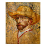 Self Portrait with Straw Hat, Vincent Van Gogh Posters