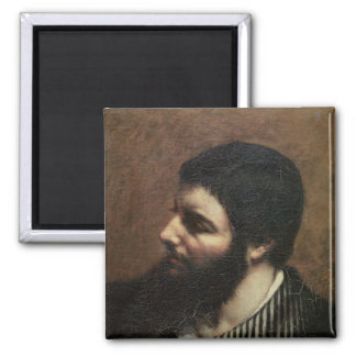 Self Portrait with Striped Collar 2 Inch Square Magnet