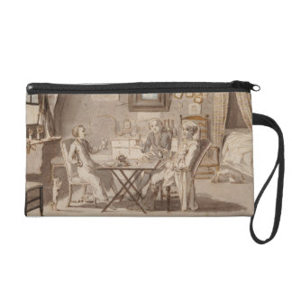 Self Portrait with Two Young Men (pen & brown ink Wristlet Clutch