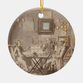 Self Portrait with Two Young Men (pen & brown ink Ceramic Ornament