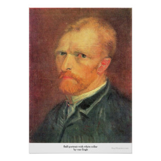 Self-portrait with white collar by van Gogh Poster