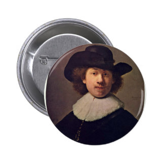 Self-Portrait With Wide Awake Has [1]. By Rembrand Pinback Buttons