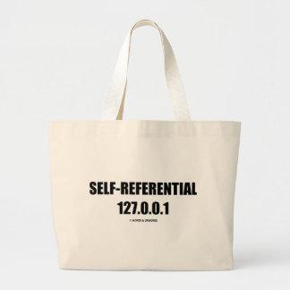 Self-Referential 127.0.0.1 (Computer Humor) Tote Bags