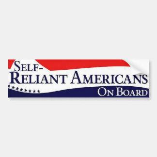 Self-Reliant Americans On Board (Patriotic) Car Bumper Sticker