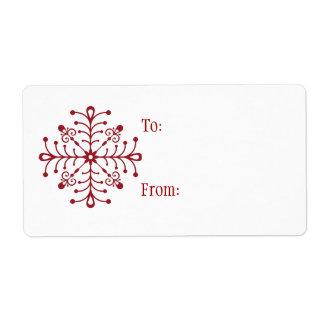 Self-Stick Christmas Gift Tag: Snowflake Label