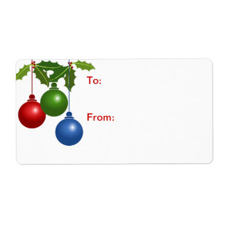 Self-Stick Gift Tag: Colored Christmas Balls Label