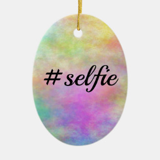 #selfie colorful print ceramic ornament