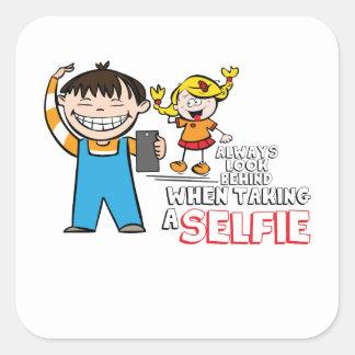 Selfie danger square sticker