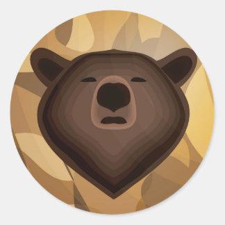 Selfie del oso de la pendiente del camuflaje pegatina redonda