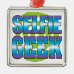 Selfie Geek v3 Square Metal Christmas Ornament