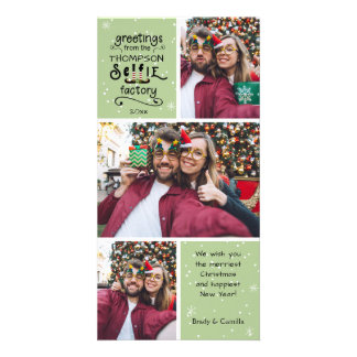 sELFie Greetings, Snow on Green, 3 Photos Card