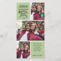 sELFie Greetings, Snow on Green, 3 Photos Holiday Card