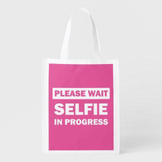 Selfie In Progress Grocery Bags