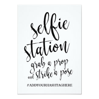 Selfie Station Black And White Affordable Sign Card