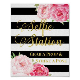 Selfie Station Sign Pink Floral Gold Black Stripes