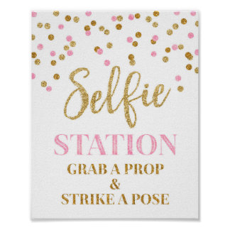 Selfie Station Wedding Sign Gold Pink Confetti