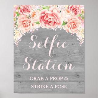 Selfie Station Wedding Sign Pink Watercolor Wood
