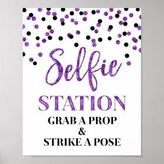 Selfie Station Wedding Sign Purple Black