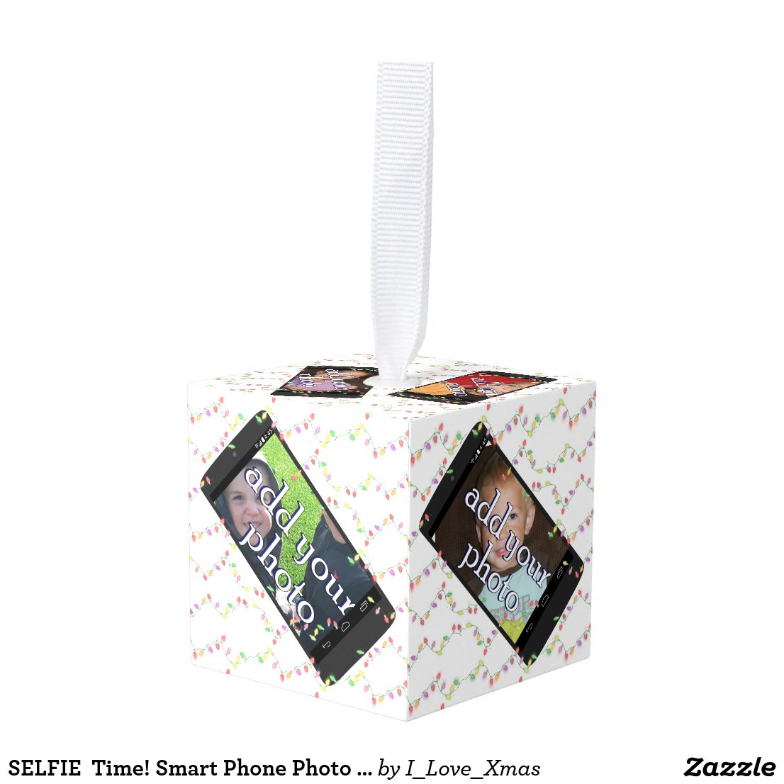 SELFIE  Time! Smart Phone Photo Frame Cube Ornament