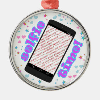 Selfie Time! Smart Phone Shape Photo Frame Metal Ornament