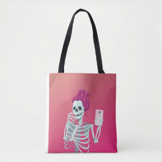 Selfie to the bones tote bag