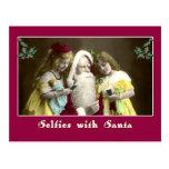 Selfies con la tarjeta de Navidad linda de Santa Postal
