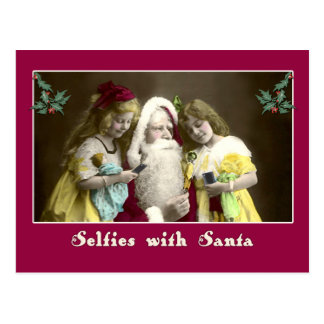 Selfies con la tarjeta de Navidad linda de Santa Postales