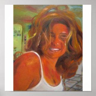 Selfportrait en naranja póster