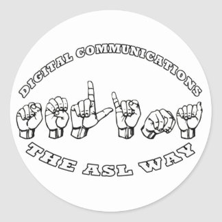 SELINA ASL FINGER SPELLED - AMERICAN SIGN LANGUAGE CLASSIC ROUND STICKER