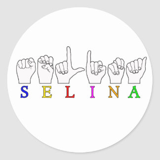 SELINA FINGERSPELLED ASL NAME SIGN CLASSIC ROUND STICKER