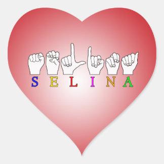 SELINA FINGERSPELLED ASL NAME SIGN HEART STICKER