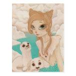 Selkie - Mermaid with Seals postcard