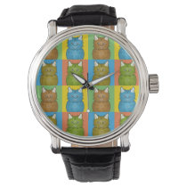 Selkirk Rex Cat Cartoon Pop-Art Watch