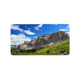 Sella mount and high Gardena valley Label