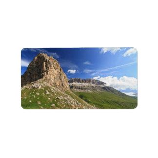Sella mountain and Pordoi pass Label