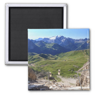 Sella pass from Sassolungo mount 2 Inch Square Magnet