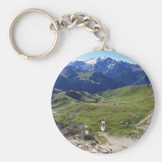 Sella pass from Sassolungo mount Basic Round Button Keychain