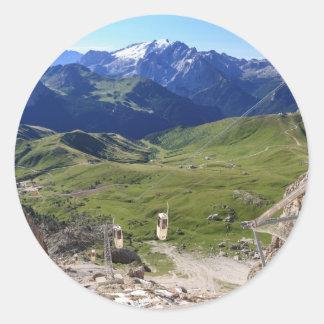 Sella pass from Sassolungo mount Classic Round Sticker