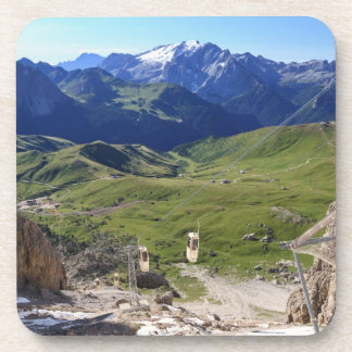 Sella pass from Sassolungo mount Drink Coaster