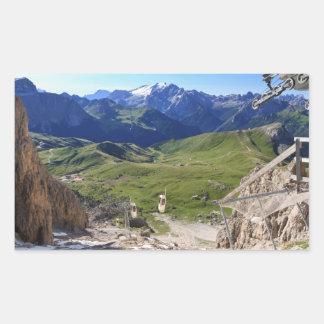 Sella pass from Sassolungo mount Rectangular Sticker