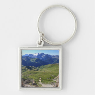 Sella pass from Sassolungo mount Silver-Colored Square Keychain