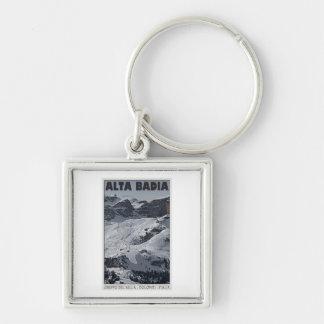 Sella Ronda - Alta Badia Run 20 Silver-Colored Square Keychain